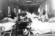 Wounded Abyssinian prisoners of war in a hospital ward.