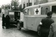 Oquendo district, Madrid. Red Cross ambulance preparing to leave the scene after evacuating the injured.