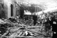 Sino-Japanese War (1937-1938). Bombed railway station in Shanghai.