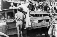 Sino-Japanese War (1937-1938). Victims in a Red Cross truck in Shanghai.