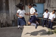 Students play in the playground at Jaime Romero Zuniga school in the Los Pinos neighbourhood of Tegucigalpa.