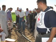 Al-Jazeera village, Iskandariya, Babil governorate. An ICRC delegate talks to farmers who are using the drip-irrigation systems.