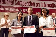 Winners of the fifth international humanitarian law competition for students in Israel. They will represent Israel at the Jean-Pictet international humanitarian law competition in South Africa.