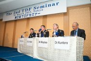 Tokyo, Japan. Panellists, including the ICRC's Larry Maybee, at the Tokyo Defense Forum's Open Seminar, organized by the Japanese Ministry of Defense.