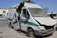 Misrata, Libya. An ambulance destroyed during the fighting. Luckily, no-one was on board when the vehicle was hit, but incidents like this claimed the lives of seven first-aiders and injured many others.