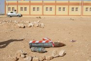 Bani Walid, Libya. An unexploded shell lies near a school. The ICRC team has marked it pending removal.