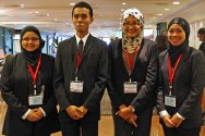 Hong Kong. The Malaysian team with their coach Ummi Hani Masood (second from right) and researcher Dayang Mazidah Awang Suhaili (right) at the 10th IHL moot.