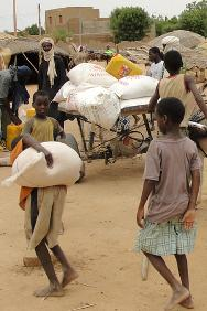 People arriving with their goods at the displaced shelter in Bagoundjé, near Gao, after an ICRC distribution of food and jerrycans of oil.