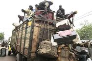 Mopti, northern Mali. A truck that will carry people fleeing to the south is being loaded.
