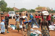 Riyum, Plateau State, Nigeria, May 2012. ICRC staff distribute relief goods to victims of inter-communal violence.