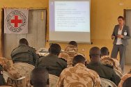 Barkin Lardi, Plateau State, Nigeria, April 2012. Troops of the Special Task Force attend a session on rules applicable during internal security operations.