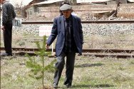 Gyumri, Armenia. Vaghinak Mnoyan is the father of a missing person. He promises to take good care of all the trees planted as a reminder of people who went missing in the 1988-1994 Nagorny Karabakh conflict.