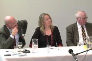 Yves Daccord, Helen Durham and William Maley at the Review launch in Canberra.