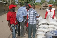 Koussabel, Casamance, Senegal. Senegalese Red Cross volunteers make final checks before distributing rice.