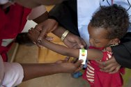 Somalia. Mudug Region, Harfo. A child suffering from malnutrition is treated at a clinic run by the Somali Red Crescent Society.