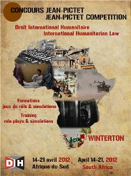 Official poster of the Jean-Pictet Competition, an annual week-long training event on international humanitarian law (IHL)