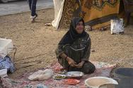 Aleppo, Syria. This woman is living on the street after fleeing the fighting.