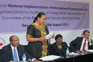Dar es Salaam, Tanzania. The Tanzanian deputy minister of justice and constitutional affairs, Angela Kairuki, speaks at the opening of the seminar on national implementation of IHL.