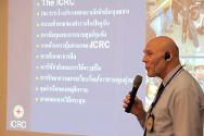 John-Erik Jensen, ICRC police delegate for the Asia Pacific Region, ran the five-day workshop. Here, he gives a presentation about the ICRC to police superintendents, deputy superintendents and inspectors.