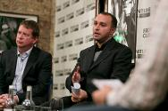 London, UK. Ben Parker (UN) and Hicham Hassan (ICRC) speak at the Frontline Club.