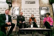London, UK. Ben Parker (UN), Hicham Hassan (ICRC), Lindsey Hilsum (Channel Four) and Lyse Doucet (BBC) on the Frontline Club panel.
