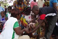 Guiglo, Côte d'Ivoire. Mobile clinics and Côte d'Ivoire Red Cross volunteers provide health care.