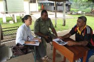 Fiji. The ICRC conducts yearly visits to detention facilities in Fiji. This picture shows an ICRC delegate talking to the prison's administrative and maintenance staff at Lautoka Prison, Ba Province.