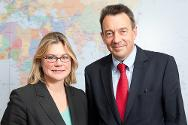 ICRC president Peter Maurer meets Justine Greening, the UK's Secretary of State for International Development.