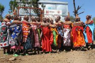 Marsabit, Kenya. Women celebrate during commissioning of the Mt Kulal  water project.