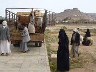 Sa'ada, Yemen. Returnees receive livestock provided by the ICRC.