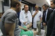 ICRC president Peter Maurer visits a physical rehabilitation centre in Gaza to hear the challenges amputees and other patients face in Gaza's difficult living conditions.