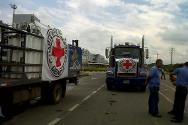 After being blocked for several hours because of a protest, a lorry carrying 110 oxygen tanks arrived in Popayán escorted by ICRC staff.