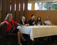 Panel discussion featuring (from left) Dr Helen Durham, Dr Knut Doermann, Dr Hitoshi Nasu, Eve Massingham and Group Captain Ian Henderson.
