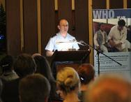 Group Captain Ian Henderson from the Australian Military Law Centre delivers a presentation on the conduct of weapons reviews.