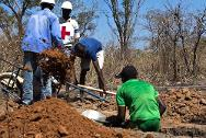 Building latrines in the displaced camp near MICOPAX (Mission for the consolidation of peace in CAR).