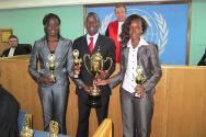 Arusha, Tanzania. The winners of the moot competition, Moi University of Kenya, with their awards.