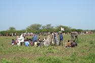 South Sudan. Displaced people wait in a temporary camp in Dorein, awaiting the arrival of humanitarian aid.
