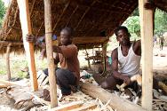 The Wissa brothers, carpenters in the south-eastern village of Mboki, working with tools provided by the ICRC as part of its project to support local businesses.