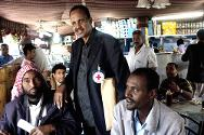 Tahrir cafeteria in Sana'a, Yemen. Every week, Mohamed Hersi, an ICRC tracing officer, meets with Somali nationals seeking refuge in Sana'a to provide them with information on the search for their relatives as well as seeking news from the elders in the group who know the community well.