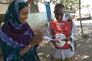 Somalia. A Somali woman receives a Red Cross message in Hargeisa.