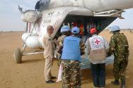 War-wounded being evacuated by helicopter from Al Sireaf to Al Fashir.