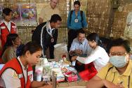 Near Sittwe, Myanmar. ICRC president Peter Maurer visits IDP camps. The humanitarian situation in Rakhine State continues to be a source of concern to the ICRC.