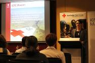 ICRC's regional legal adviser for the Pacific delivers a presentation on child soldiers at a joint event with the Australian Red Cross.