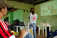 Rita (on the right) is a training manikin and a stalwart of the ICRC's talks in Arauca's rural communities.