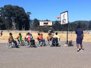Disabled people playing a basketball game using wheelchairs provided by the ICRC at Deres House of Sports in Addis Ababa.
