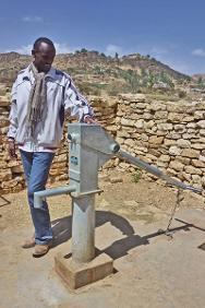 Tigray water board employee Ato Mulu Tadesse at one of the water points he manages.