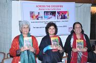 Across the Conflict: Women and Conflict in India is formally released by, from left to right: Kamla Bhasin, feminist author and activist; Anuradha Chenoy, Professor of International Relations, Jawaharlal Nehru University, New Delhi; and Rita Manchanda, Research Director, South Asia Forum for Human Rights. Rita Menon, Founder, Women Unlimited – Kali For Women, is seated in the background.