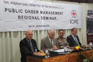 Frederic Fournier, head of the ICRC delegation for Indonesia and Timor Leste, opens the regional seminar on public order management in the presence of Inspector-General Benny Mokalu, regional police chief for Bali Province.