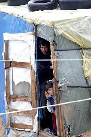 Syrian refugees in a camp in Tyre, southern Lebanon.