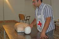ICRC first-aid delegate Abdulbadih El Dada holds a first-aid training session for Libyan Red Crescent personnel and others.